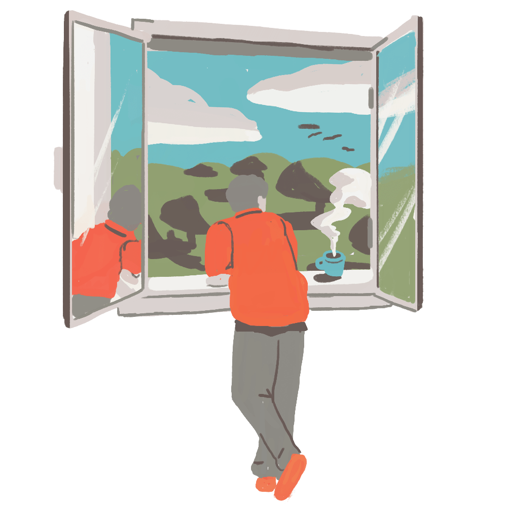 Illustration of person looking out of a window, outside we can see nature a clear sky.