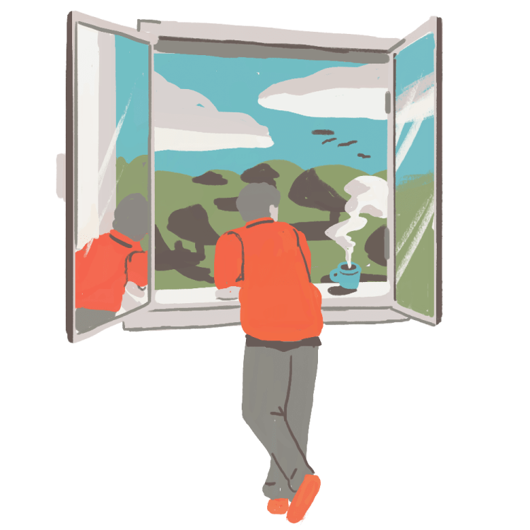 Illustration of person looking out of a window, outside we can see nature and a clear sky.