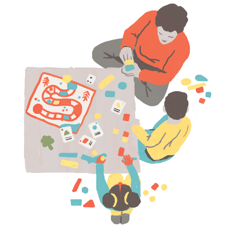 Illustration of family playing a board game