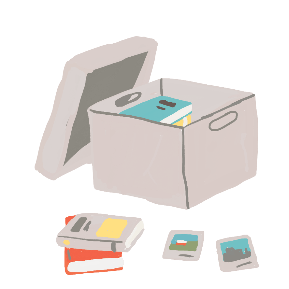 Illustration of books and pictures being taken out of a box