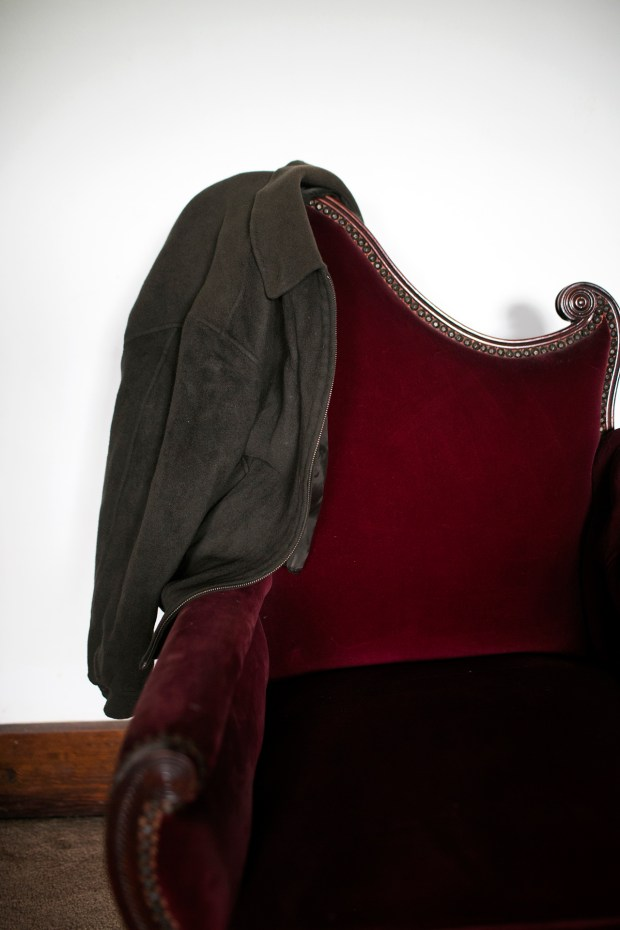 The jacket that Fowle's North Koreantranslator gave him sits on a chair in his home.