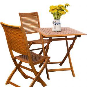 set giardino legno balau 2 sedie