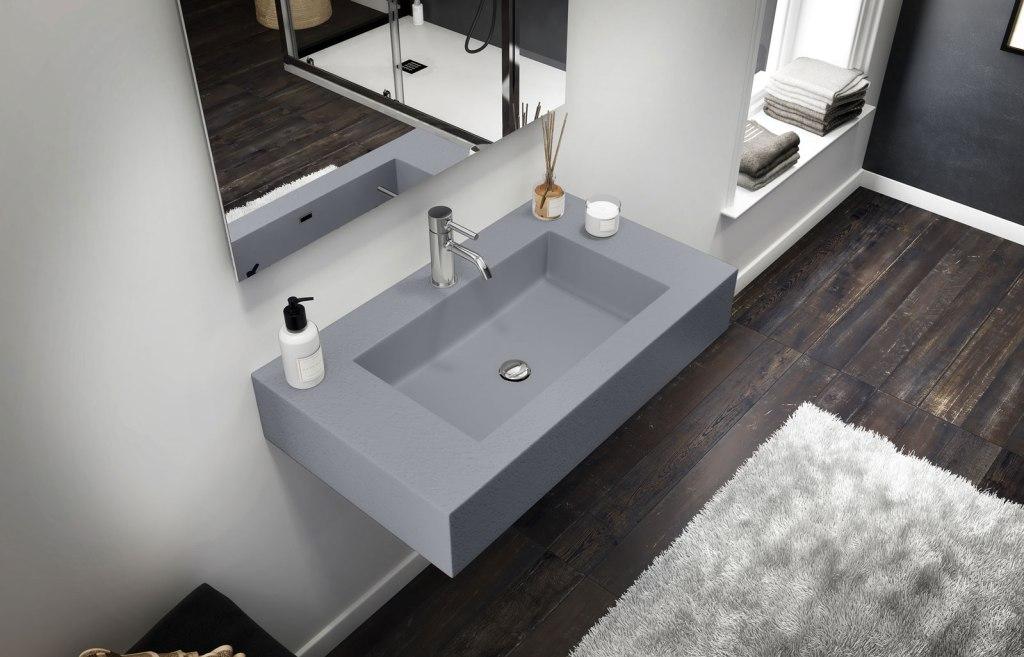 lavabo sospeso in gelcoat grigio