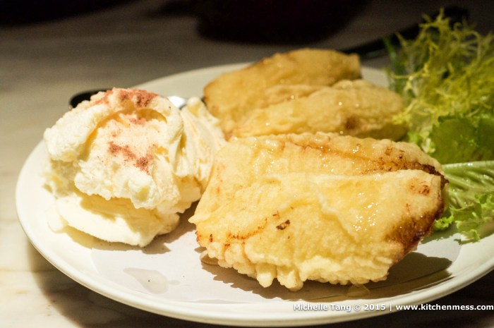 Fried banana with vanilla ice-cream