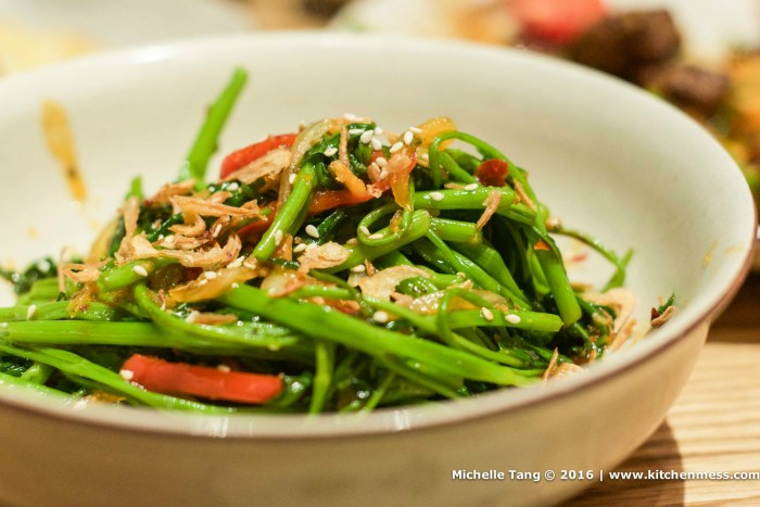 Morning Glory, wok-fried with garlic and a hint of chili
