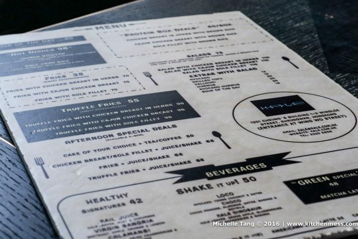 Kale's menu
