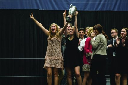 The 82nd Annual Nykerk Cup Competition was held October 29, 2016 in DeVos Fieldhouse and featured the freshman class 2020 and the sophomore class 2019. Photo by Guillermo Rangel.
