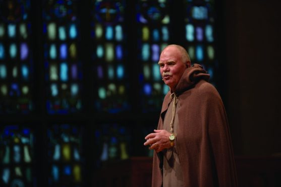 """The Rev. Dr. Dennis N. Voskuil, who in addition to being president of Hope College is a theologian with an emphasis in church history, brought Martin Luther to life through the presentation """"Here I Stand: A Conversation with Martin Luther"""" through the college's Presidential Colloquium lecture series."""