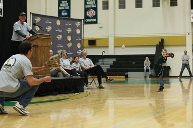 Missouri S&T Miners meet on Joey's Day to announce his Make-A-Wish reveal to visit Disney World for Joey Miller. Sam O'Keefe/Missouri S&T