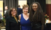 Nuran Ercal, the Richard K. Vitek/Foundation for Chemical Research Endowed Chair in Biochemistry, visits with Cynthia Tang, Econ'85, and Francisca Oboh-Ikuenobe, interim chair of geosciences and geological and petroleum engineering.