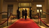 Guests left their cars with the valet and entered the gala on a red carpet.