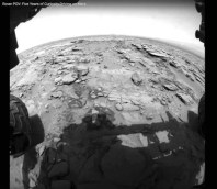 Image taken from the front left hazard avoidance camera by NASA's Curiosity Mars rover while exploring Mars' Gale Crater.