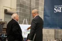 Bob Sieckhaus (left) and Civil, Architectural and Environmental Engineering Department Chair Joel Burken discuss plans for the new lab. Photo by Kandi Woessner