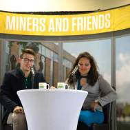 """Student improv group members Joseph Styczynski and Sabrina Cavender introduced the awardees during """"Miners and Friends,"""" a mock morning show."""