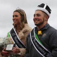 During halftime of the football game, Daryn Bourne, a senior in civil engineering from Lake Waukomis, Mo., was named Missouri S&T's 2018 Homecoming Queen and Jacob Hunter, a senior in mechanical engineering from Imperial, Mo., was named Homecoming King.