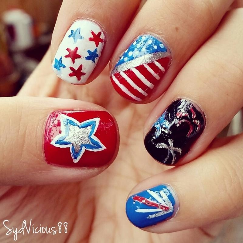 4th Of July Flag And Firework Nails By Sydney