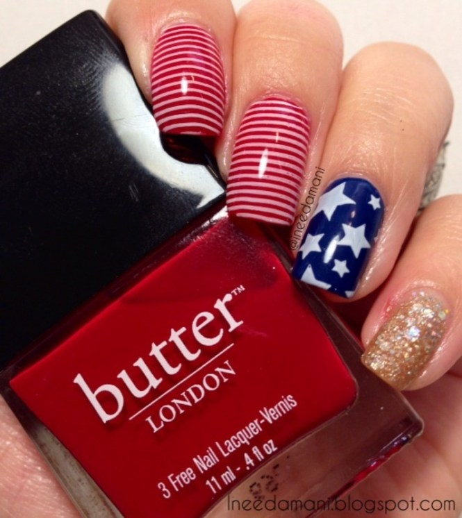 Red White And Blue Flag Nails By Carmen