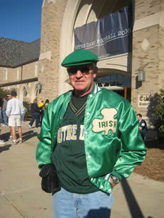 Patrick Coyne, an Irish fan for 70 years, on Notre Dame's campus for the 2008 game against Stanford