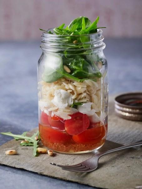Orzo Spinach Mozzarella Tomato Salad