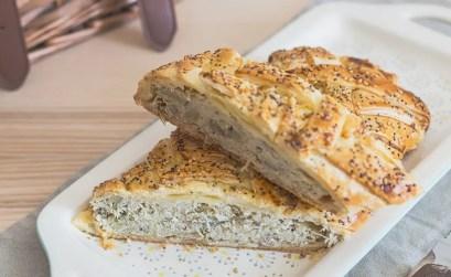 Strudel salato ai carciofi con provola e pancetta