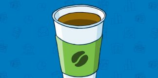 A white coffee cup is seen on a blue background
