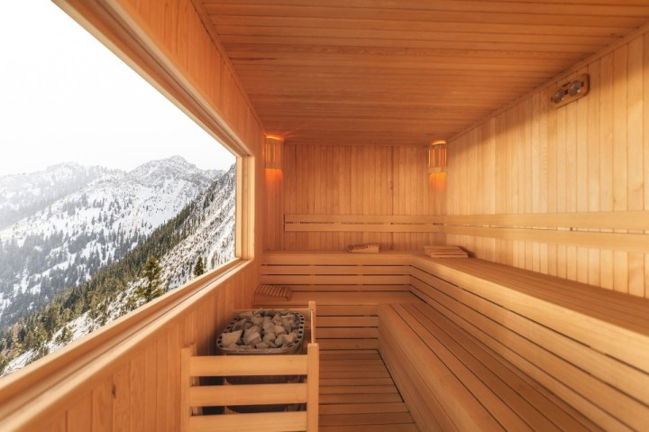 Wooden sauna with mountain views