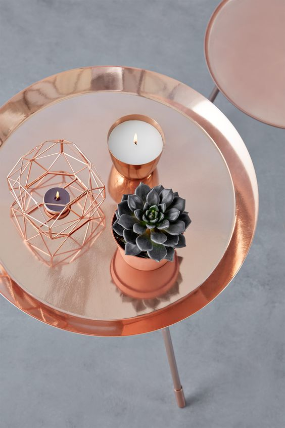 tavolo porta candela rame rose gold urban outfitters