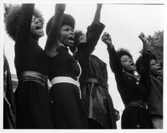 Black Panthers from Sacramento at the same Free Huey rally; from a photo essay on the Black Panthers by Pirkle Jones, 1968.