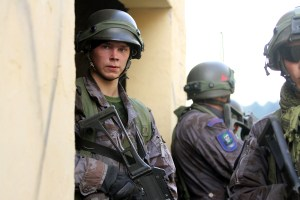 Lithuanian soldiers at an exercise