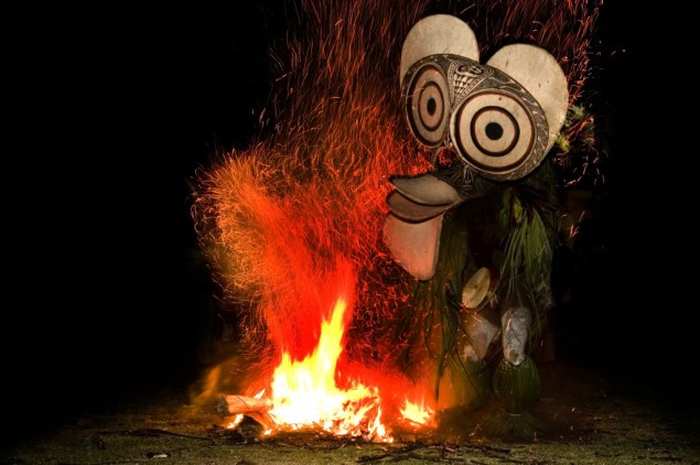 Firedancers of the Papua New Guinean tribe Baining of the Baining mountains on the island of New Britain