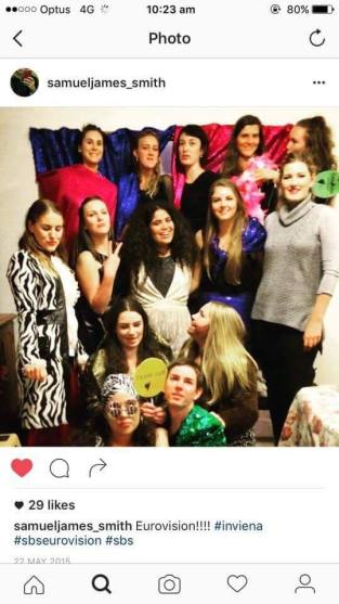 Photo: Naomi Wolfers. Australian's overcoming the time difference to dress up, get together and celebrate Eurovision 2015.