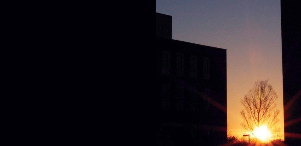 sun rising behind trees buildings in heavy shadow framing shot
