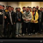 Screenshot from video of UMBC students singing for the holidays