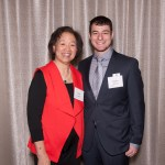 Two people pose together at the scholar luncheon