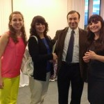 People smile at Political Science Reception
