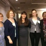 Women pose together at Political Science reception