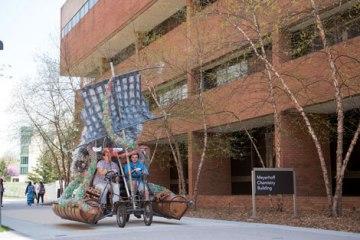 People drive art project beside Meyerhoff Building