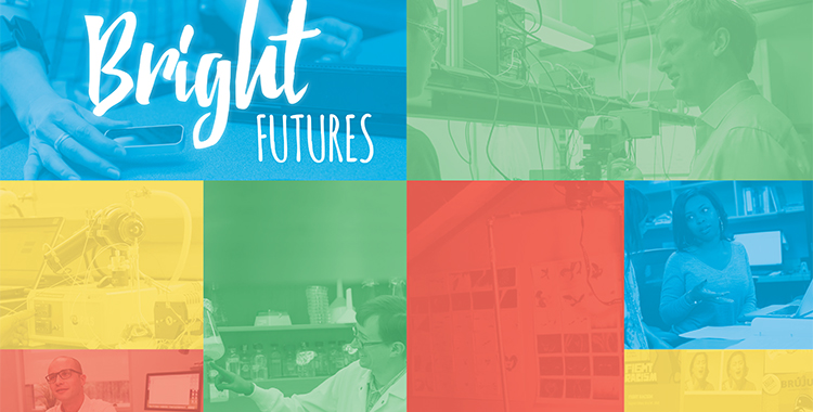 bright futures flyer with people in labs