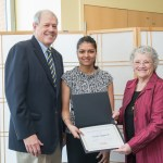 Jeffries Dean award winner Ayushi Aggarwal poses with award and two others