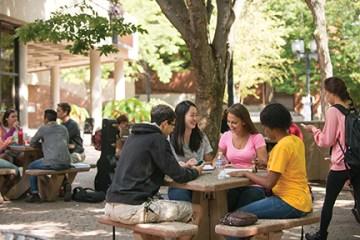Students congregate outside University Center
