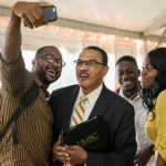 President Hrabowski poses for a selfie with students