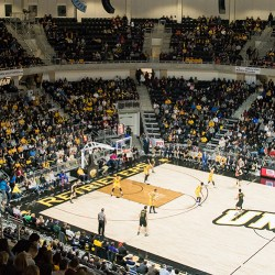 Picture from high in bleachers of UMBC mens basketball game for event center opening