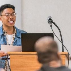 Man gives talk at URCAD