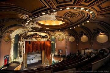 Abandoned movie theater auditorium