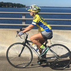 women rides bike