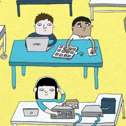 illustration of different people at UMBC completing their research.
