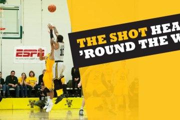 The shot heard 'round the world header with retriever making shot against Vermont