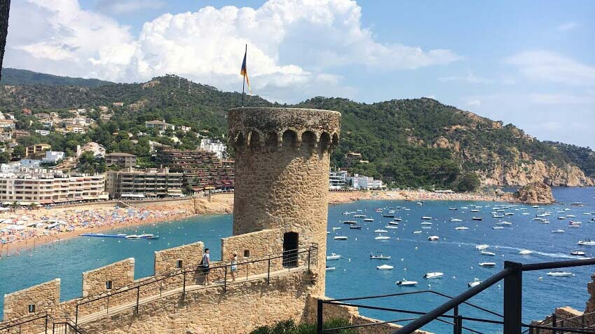 Foreign beach and fortress
