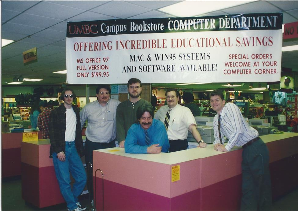 Old photo of UMBC bookstore staff