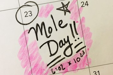 Mole day marked out on calendar